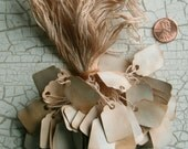 """Hang TAGS 100 Price Hanging with string labels, Tea Stained Medium size 3/4"""" -1"""" Rustic, Antique, Prim, vintage, retail, Paper, Shabby, gift"""