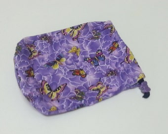 Purple and Butterflies String Bag, Accessories bag, Iphone string bag, Small Pouch