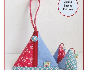 PDF Pyramid Zipper Pouch and Sachet Sewing Pattern - Zakka - Instant Download