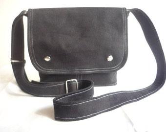 Mini Messenger Bag /Black and Grey Canvas/ Small  / Adjustable Strap