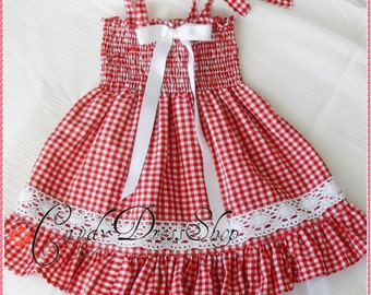 Red and white checkered dress for girls, Red and white plaid dress, ,Red and white ruched dress for girls, Red gingham dress, Party dress