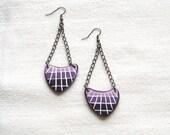 Polymer clay earrings purple ombre mosaic arrow shaped geometrical dangle earrings