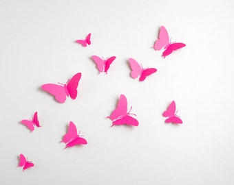 3D Wall Butterflies: 3D Butterfly Wall Art for Nursery, Girl's Room in Fuchsia Pink