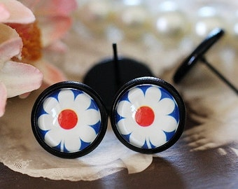 8mm.10mm.12mm.14mm.16mm Colored Enameled brass blank setting Post Earring With  Round Pad  NICKEL FREE (EAR-68-1)