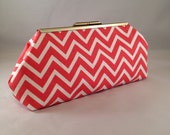 Clutch Purse - Coral Chevron