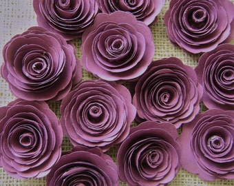 """12 one dozen 2 """" burgundy plum wine spiral paper rose flowers for wedding bouquets and decorations"""