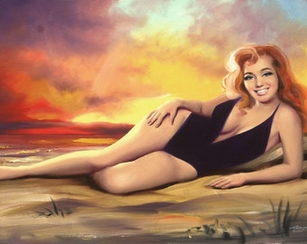 Keeley pinup girl sunset large 24x36 original oils on canvas painting by RUSTY RUST / 1462