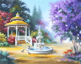 Gazebo fountain pigeons landscape 24x36 oils on canvas painting by RUSTY RUST / P-50
