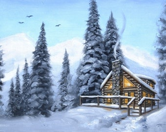 Cabin snow landscape original 24x36 oils on canvas painting by RUSTY RUST / M-259