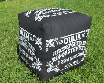 """Ouija Ottoman, Pouf, Hassick - White on Black Canvas - 18"""" X 18"""", 14 lbs"""
