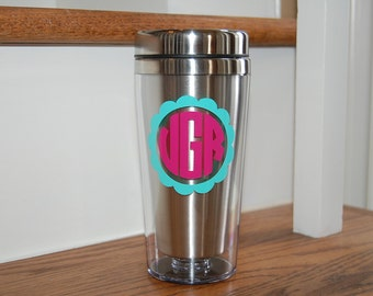 Stainless travel coffee mug insulayed personalized monogram GREAT wedding gift Bridesmaids groomsmen bridal party fathers dad teachers