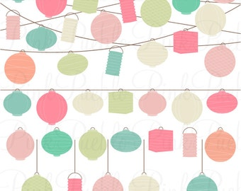 Pastel Paper Hanging Lantern Clipart Clip Art Vectors, Lanterns Clipart Clip Art - Commercial and Personal Use