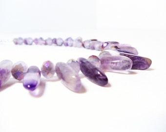 Amethyst Necklace- February Birthstone- Tribal Necklace- Wire Wrap Necklace- 2 Piece Necklace Set-