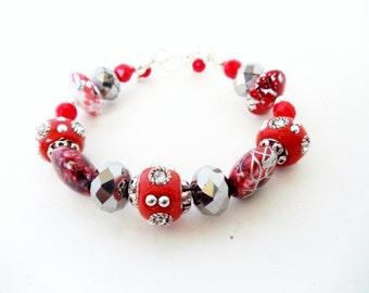 Beaded Bangle- Bead Bracelet- Valentine Bracelet- Red Bracelet- Wire Wrap Bracelet- Valentine Gift- Glass Bangle- Red Bangle- Assorted Beads