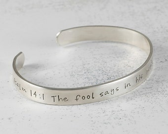Personalized Cuff Bracelet sterling silver engraved - 1/4 inch width