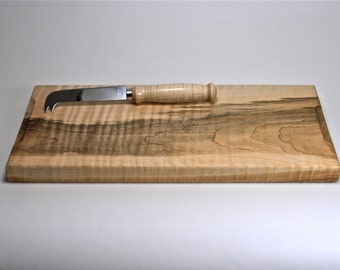 Hand made Curly Maple Wood Cutting Board - Serving Board - Bread Board - Cheese Board with Spreader - Cheese Knife - Hand Made
