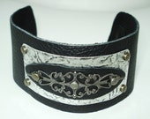 Black Leather Cuff Bracelet Free Shipping