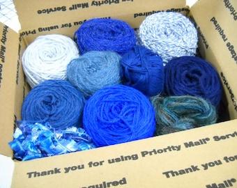 Mystery Box of Blue Yarn, Knitting Notions, Crochet Supplies, Vintage Yarn, Mixed Lot Vintage Yarn, ybox4/blue