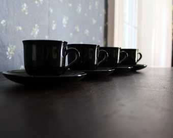 set of four vintage mid century demitasse