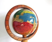 Hand Carved, Hand-Painted Wooden Folk Art Globe, Antique Folk Art, Small Globe
