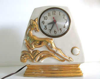 Art Deco Ceramic Clock, Green with Gold Deer