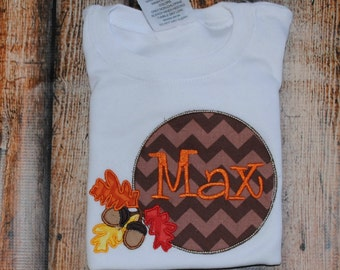 Acorns with Leaves with Monogram Embroidered Personalized Shirt or Bodysui