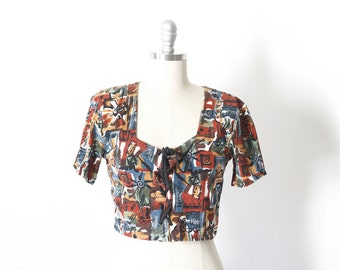 Vintage 90's Abstract Lace Up Crop Top / Medium