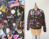 90s Vintage Silk Bomber Jacket by Nicole Miller with USA America United States Elvis Harley Printed Silk Jacket Mens Womens