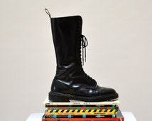 Amazing 90s Black Dr. Martens Black Boots Size 10 10 1/2// Vintage Doc Marten Black Tall Boots Size 8 9 UK Made in England