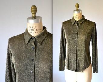 90s Metallic Gold Shirt size Medium Minimalist Gold Button Down Shirt// Vintage Gold Shirt