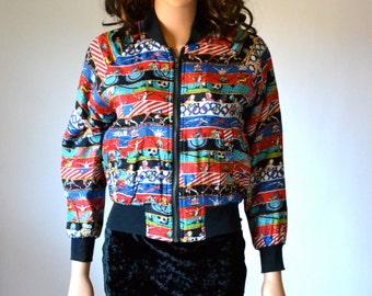 90s Nicole Miller Silk Bomber Jacket with USA OLYMPICS // Vintage Sports Jacket Swimming Track Gymnastics Print size XS