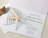Starfish Wedding Invitation On White Sand, Beach Wedding invitation, DEPOSIT