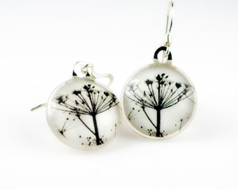 ANNE LACE - Black & White Flowers - Recycled Glass Photo Earrings