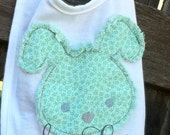 Raggy Easter Bunny applique design - machine embroidery design- Many formats - INSTANT DOWNLOAD