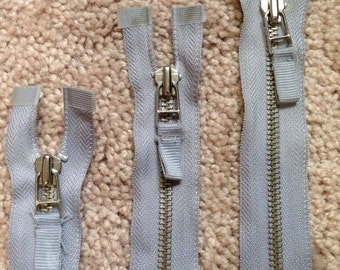 Set of 3 Grey Separating Metal Zippers with Ribbon Zipper Pull