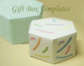 Printable Template - Printable Hexagonal Jewelry Gift Box