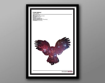 Cosmic Owl // Zoological Universe Poster Series // Minimalist Animal Kingdom, Space and Astronomy Silhouette Print