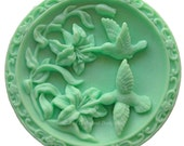 Hummingbird Soap, Birds in Flowers Soap, Novelty Soap, Round Soap, Bird Soap, You pick scent & color