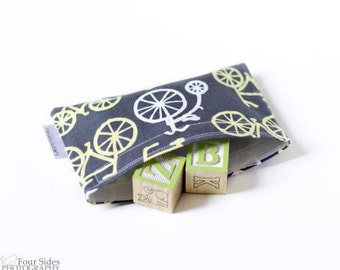 Eco-Friendly Reusable Snack Bag-- Gray Bicycles