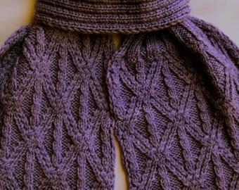 Knit Scarf Pattern:  Grecian Twist Stitch Turtleneck Scarf Knitting Pattern