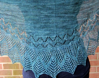 Knit Shawlette Pattern:  Irish Edged Long Wingspan Shawlette Knitting Pattern