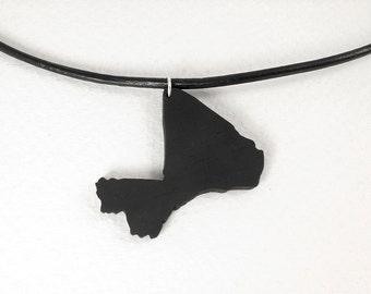 Ebony Mali necklace ebony pendant Africa pendant Mali map Adoption jewelry