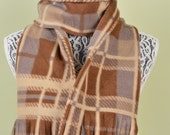SCARF WITH FRINGE- Brown,Tan and Gray Plaid- polar fleece winter scarf