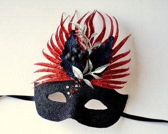 MASK- Fire Bird- masquerade mask, Mardi Gras, ballroom, fairy, Venetian, Halloween