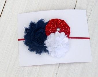 Vintage Patriotic Shabby Headband    (Newborn, Toddler, Child)