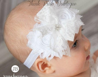 White Baby Headband,Christening Headband, Baptism Headband,Newborn Headband,Baby girl Headband,Shabby chic Headband,Baby Hair Bows.