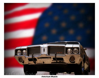 American Muscle a 1972 Oldsmobile 442 and American Flag color print