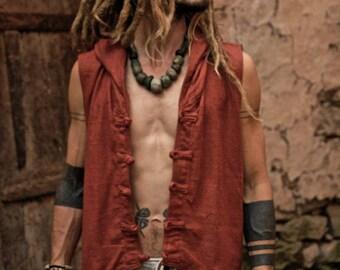 Tibetan Vest With Hoodie ~ Raw Silk ~ Maroon