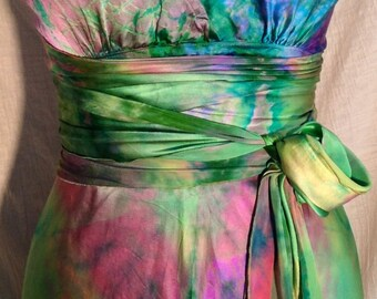Rainbow colored silk wedding  dress pink green turquoise  boho chic bridesmaid dresses hippie morher of the bride