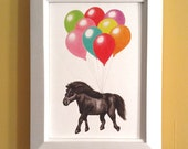 Miniature Horse with Balloons 5x7 Giclee Archival Fine Art Print (unframed)